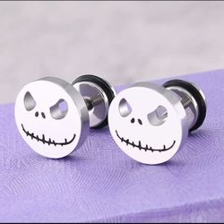 3 Pairs Jack Skellington Nightmare Before Christmas Stud Earrings Black Silver Gold Thumbnail