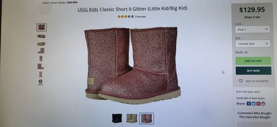 Ugg kids classic short II glitter boots size 9 and 10 toddler Thumbnail