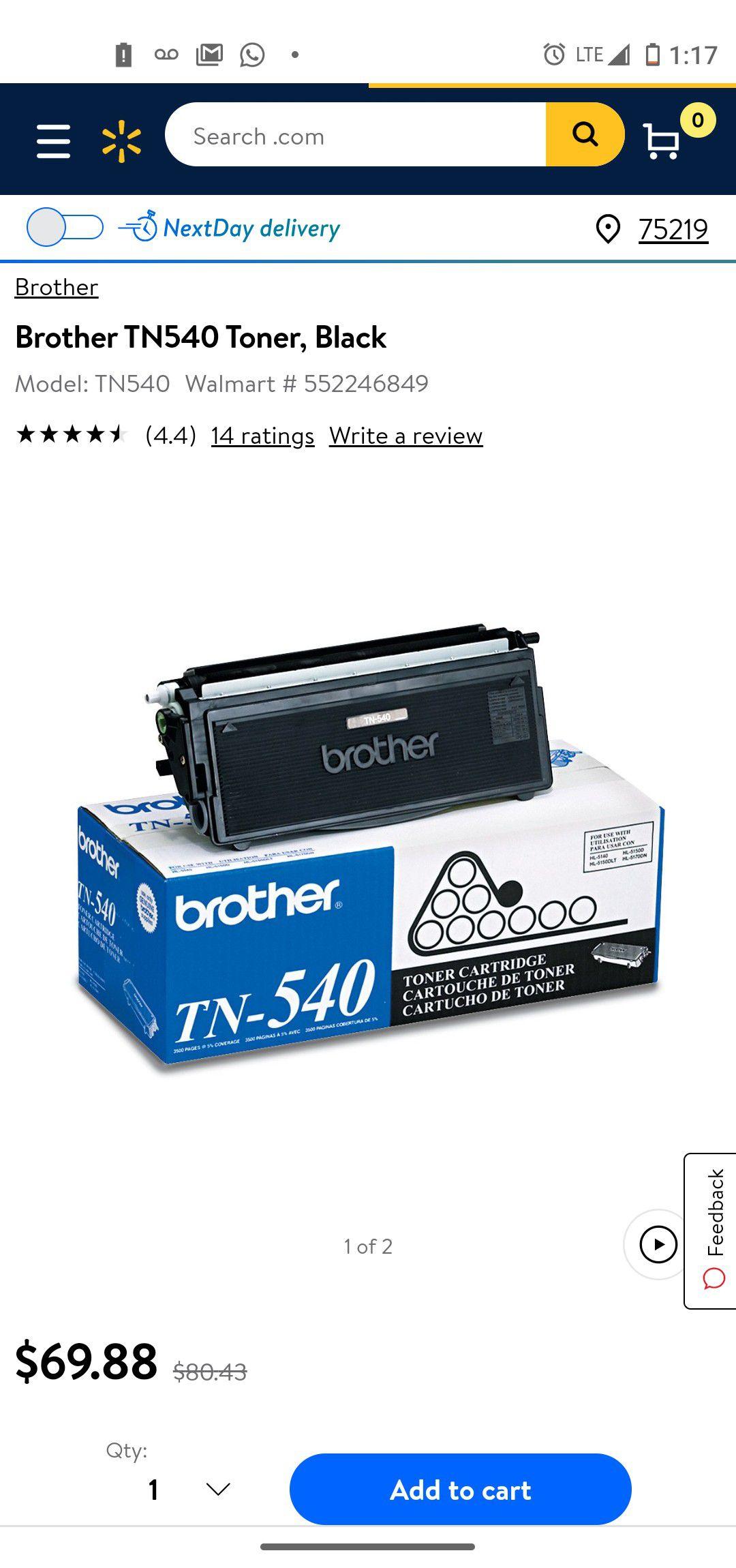 Brother TN 540 Black Toner Cartridge, Standard