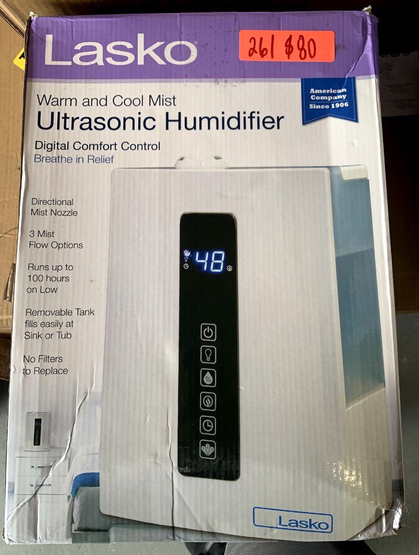Lasko Warm & Cool Humidistat & Soothing Ultrasonic Dual Mist Humidifiers