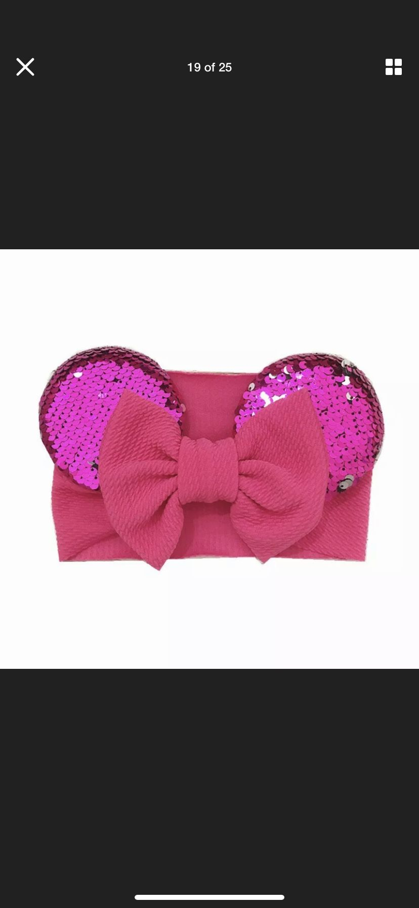 Babygirls head band Minnie Mouse ears