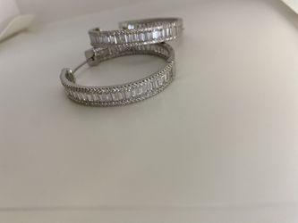 Silver/ Gold Baguette Hoops   Thumbnail