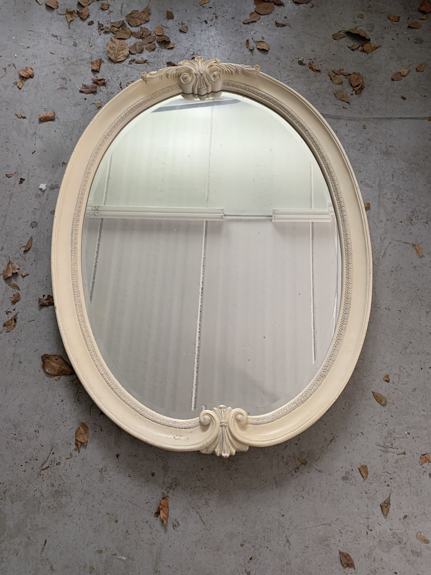 Off White Wood Frame Oval Wall Mirror