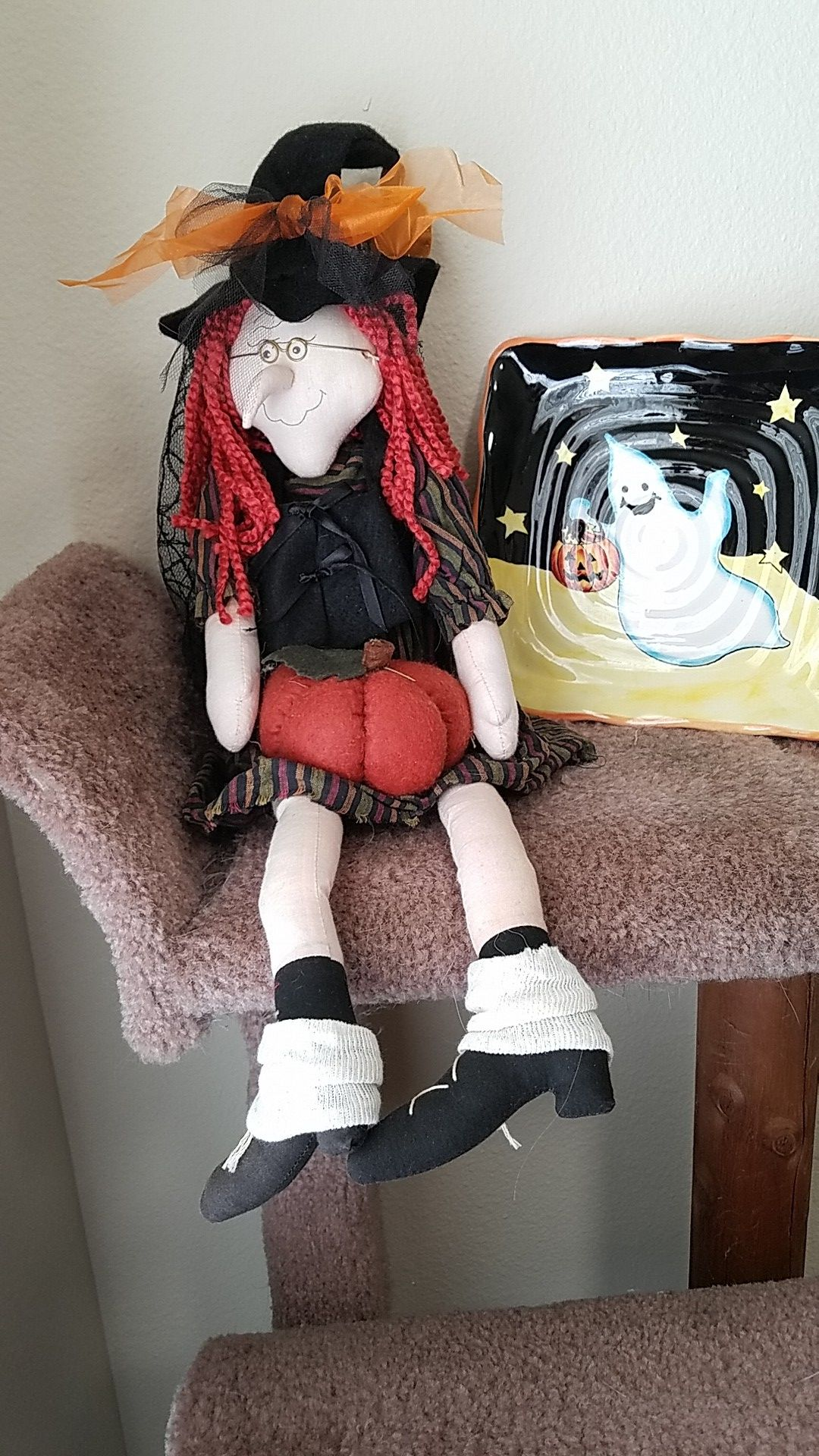 Witch and ceramic candy dish