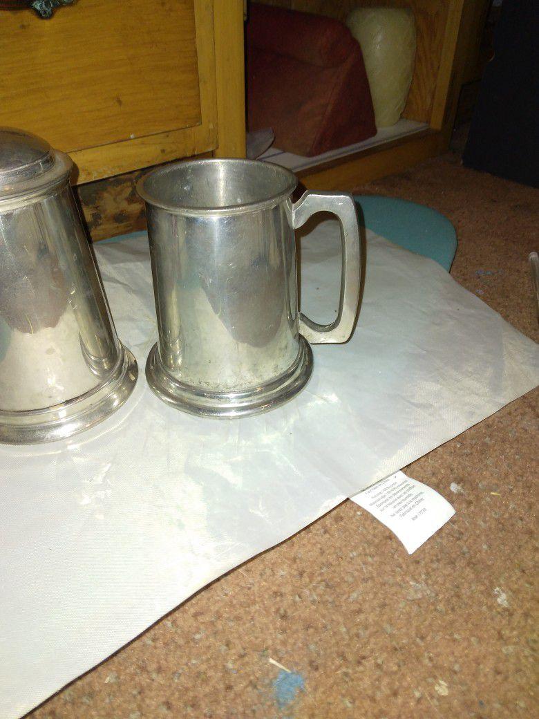 Pewter Vintage Beer Mugs 2 Total