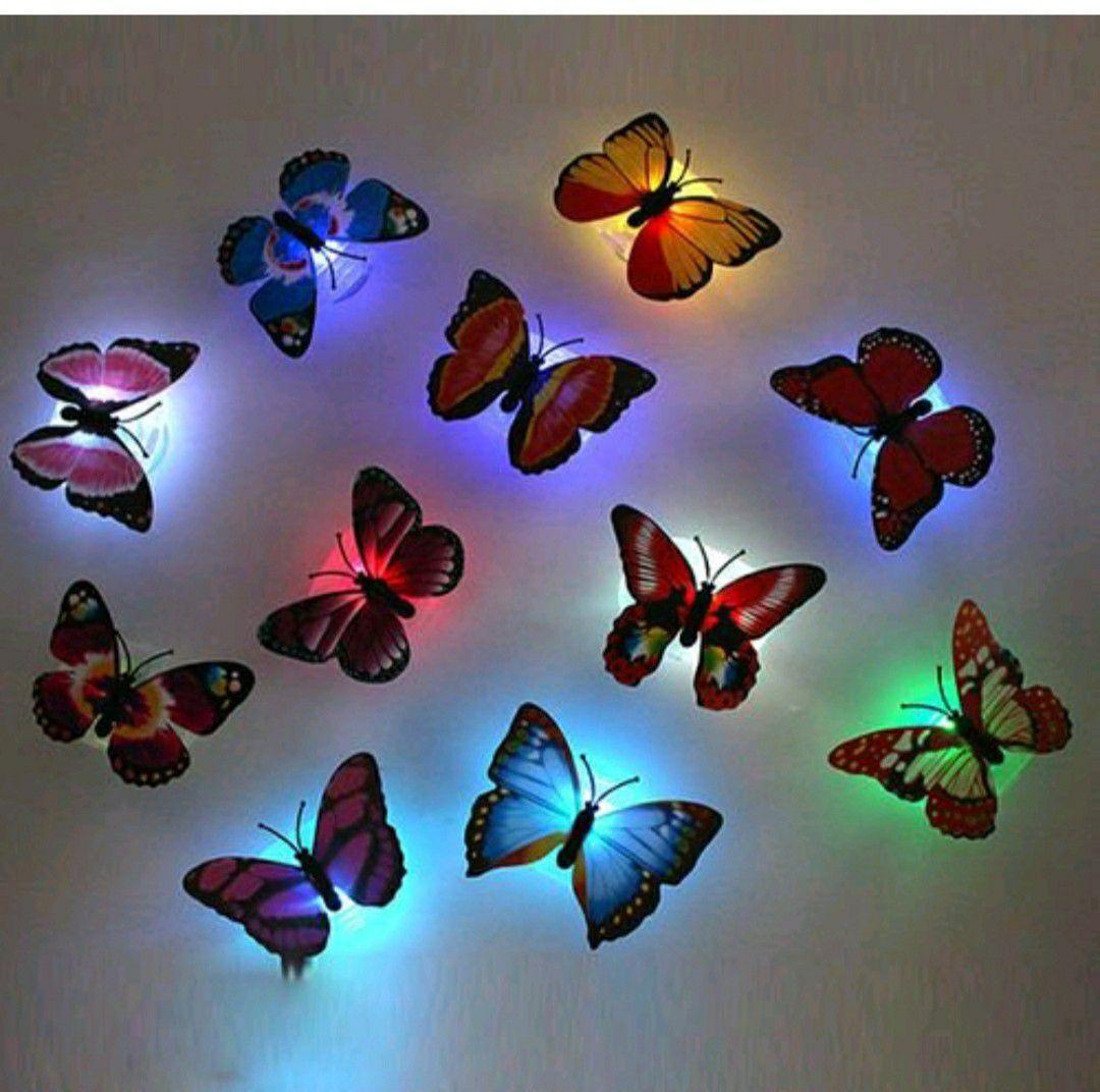 12 packs LED Flashing Lamp Butterflies Night Light Butterfly Decoration