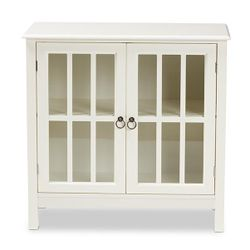 Kendall Classic and Traditional White Finished Wood and Glass Kitchen Storage Cabinet Thumbnail