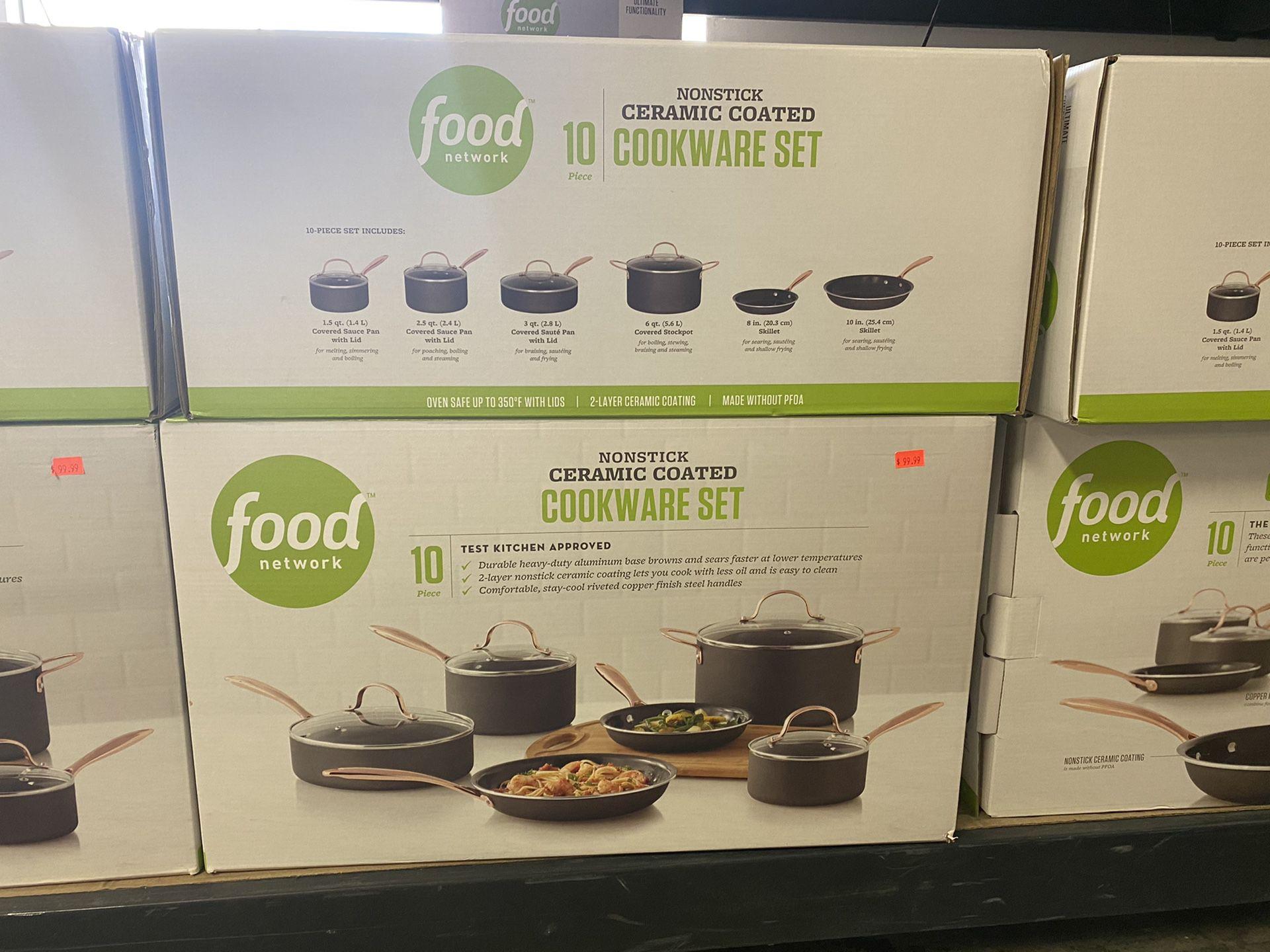 Food Network Nonstick Ceramic Coated 10 PCS Cookware Set New!!! $99.99!