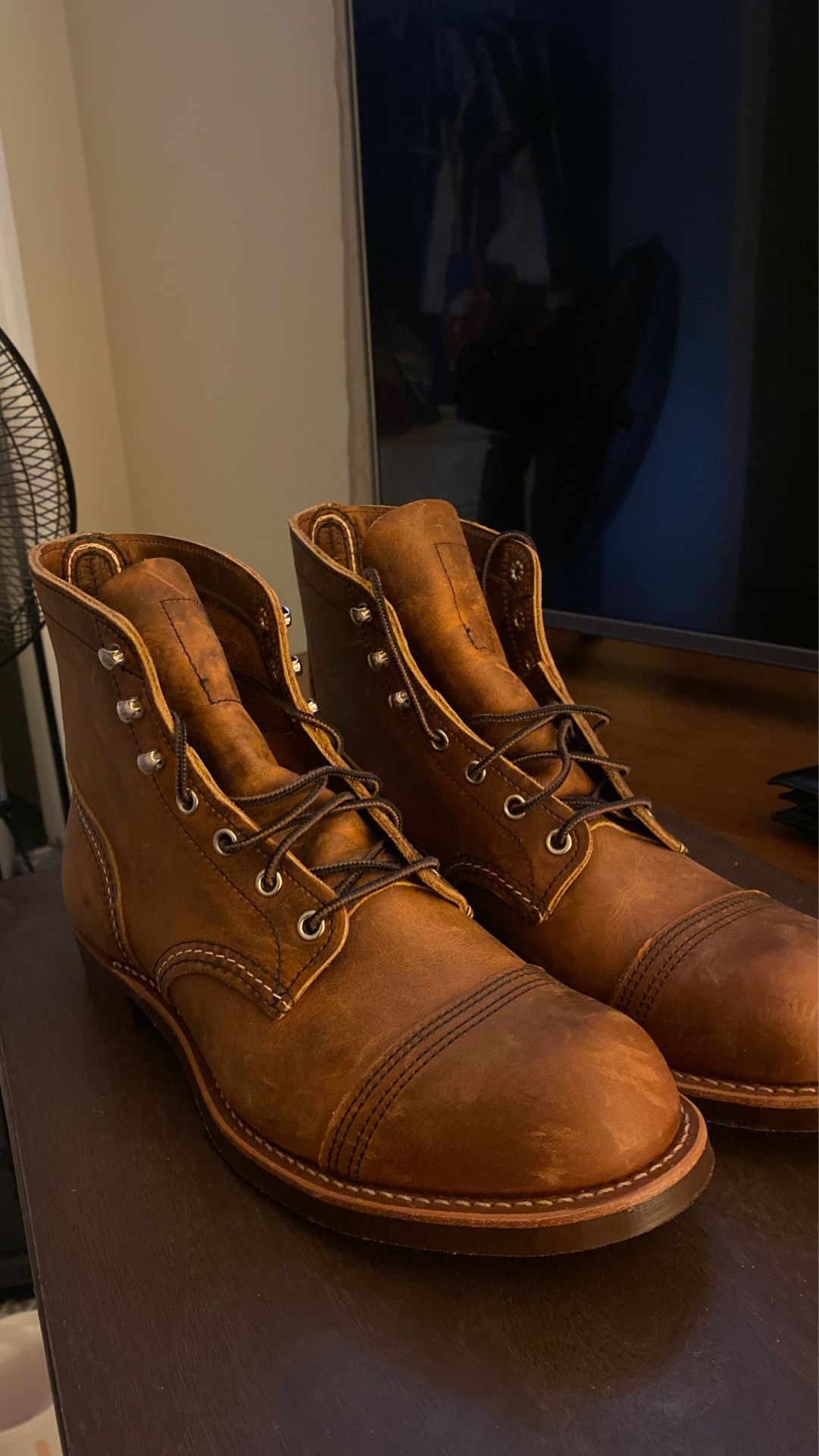 Red Wing Boots (Never worn) w/ red wing brand leather cream