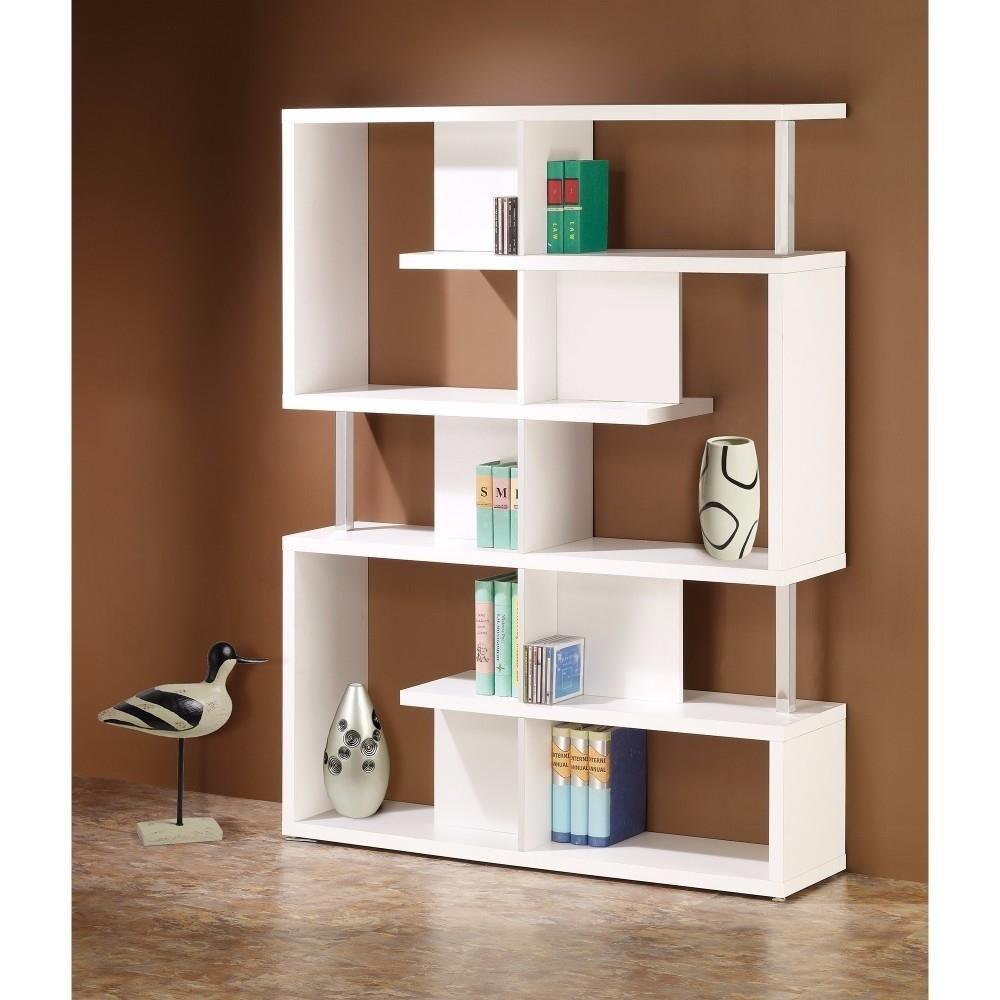 Saltoro Sherpi Splendid white bookcase With Chrome Support Beams