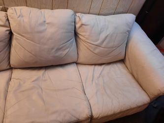 White/Cream Colored Leather Couch Thumbnail