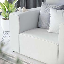 Mingle Vegan Leather Armchair, White Thumbnail