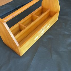 Large Wooden Caddy Perfect For Decoration, Tools, Horse Tack, Kitchen Organization Etc Thumbnail