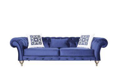 (BRAND NEW) Loretta Blue Velvet Sofa & Loveseat Thumbnail