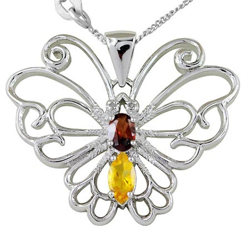 Solid 925 Sterling Silver 1.19 Carat Genuine Yellow Citrine Butterfly Pendant