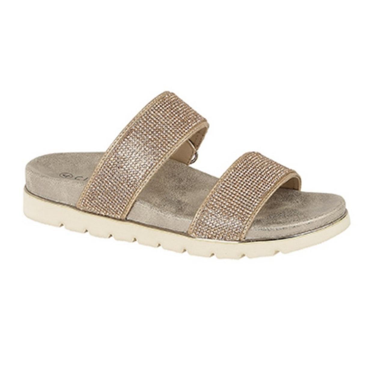 Cipriata Womens/Ladies Aletta Diamante Twin Strap Mule Sandals Size 8 US