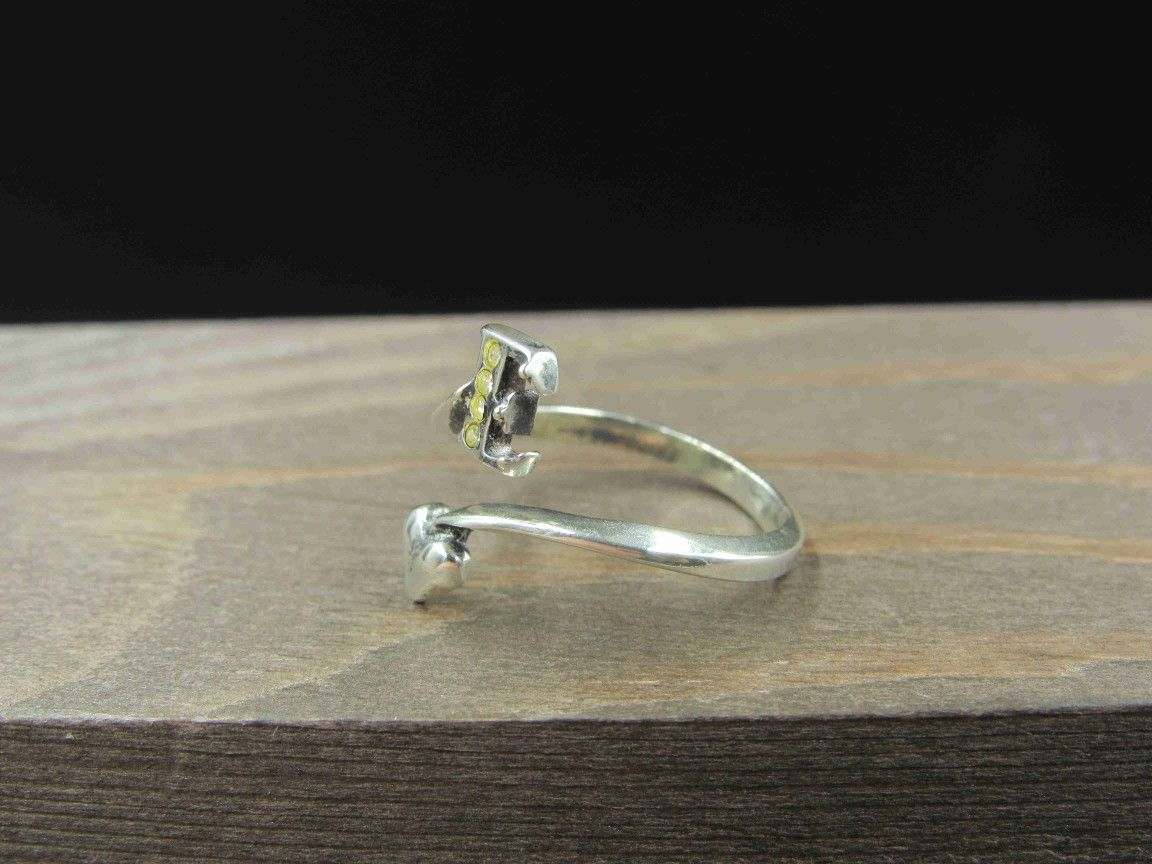 Size 6.5 Sterling Silver Letter E & Heart Worn Crystal Band Ring Vintage Statement Engagement Wedding Promise Anniversary Bridal Cocktail