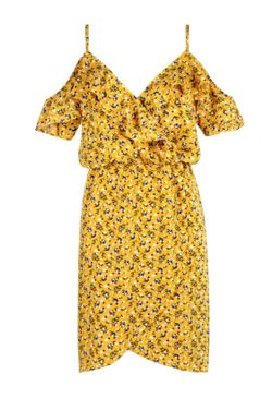 Floral Frilly Frilled Wrap Spring & Summer Pretty Cold Shoulder Mini Dress  Thumbnail