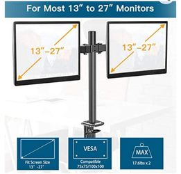 Double Monitor Stand - Dual Monitor Mount Desk Arm with C Clamp, Grommet Mounting Base for Two 13-27 Inch LCD Computer Screens - Each Holds up to 17.6 Thumbnail