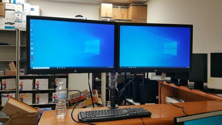 Dual monitors on one stand, 24-inch LED , VGA, dvi, HDMI, with cables, Thumbnail