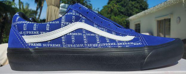 "NEW + RECEIPT | Supreme x Vans Old Skool Pro ""Blue Grid Logo"" Size 10 Thumbnail"