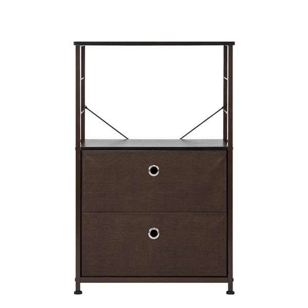 Nightstand 2-Drawer Shelf Storage - Bedside Furniture & Accent End Table Chest For Home, Bedroom, Office, College Dorm,