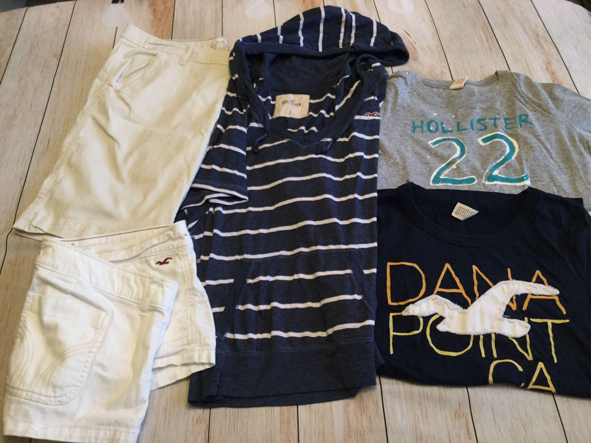 Hollister Bundle Lot of 5 — 2 size 11 shorts, 2 Tee's & 1 hoodie Tee (Jr's Med/Lg)