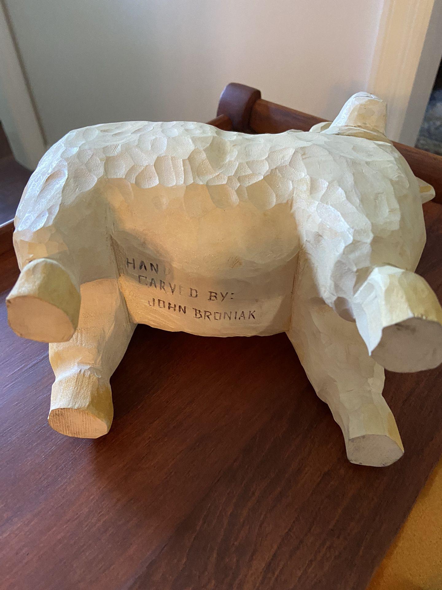 Carved Wooden Sheep By John Brosniak