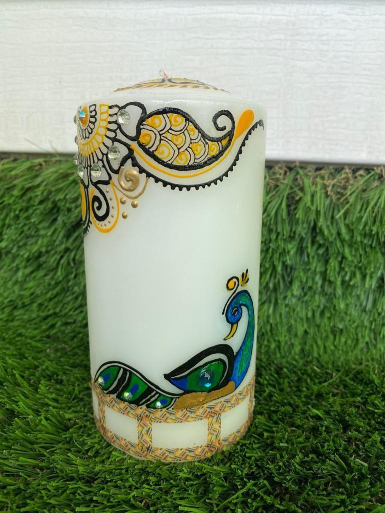 "3x6"" Unscented Wax Pillar Candle"
