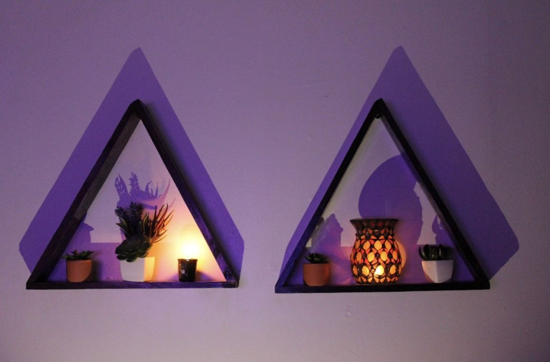 two floating triangle shelves