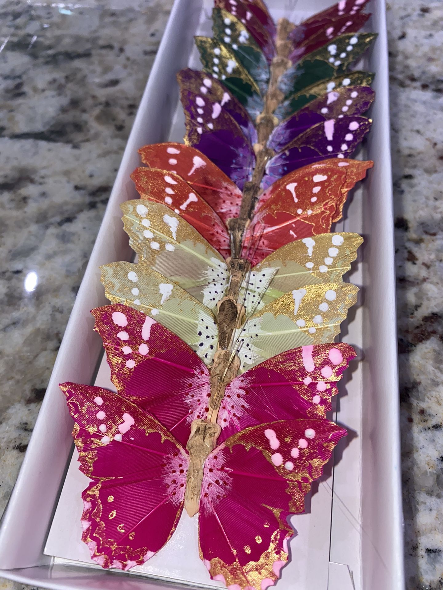 Feather Multi Color Butterflies Pack Of 12