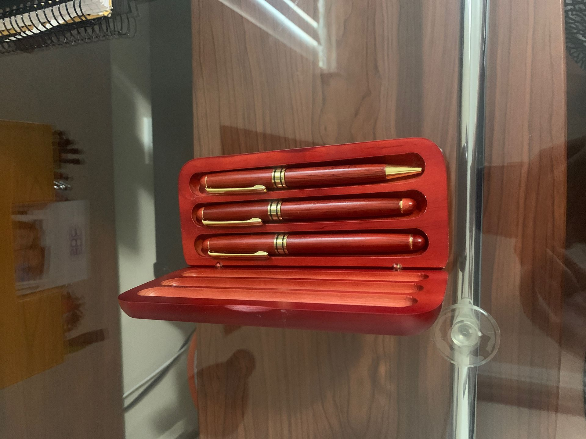 Rosewood Pen Set - Gel, Ballpoint, and Fountain Pen - With Rosewood Case