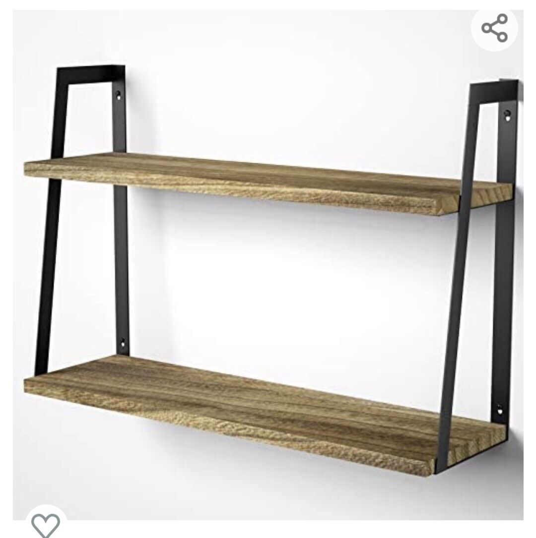 """Decorative 2-Tier Floating Wall Shelves Available in Multiple Styles and Finish Types Sustainably Sourced Solid Wood Thick, Resilient Shelving (0.7"""")"""