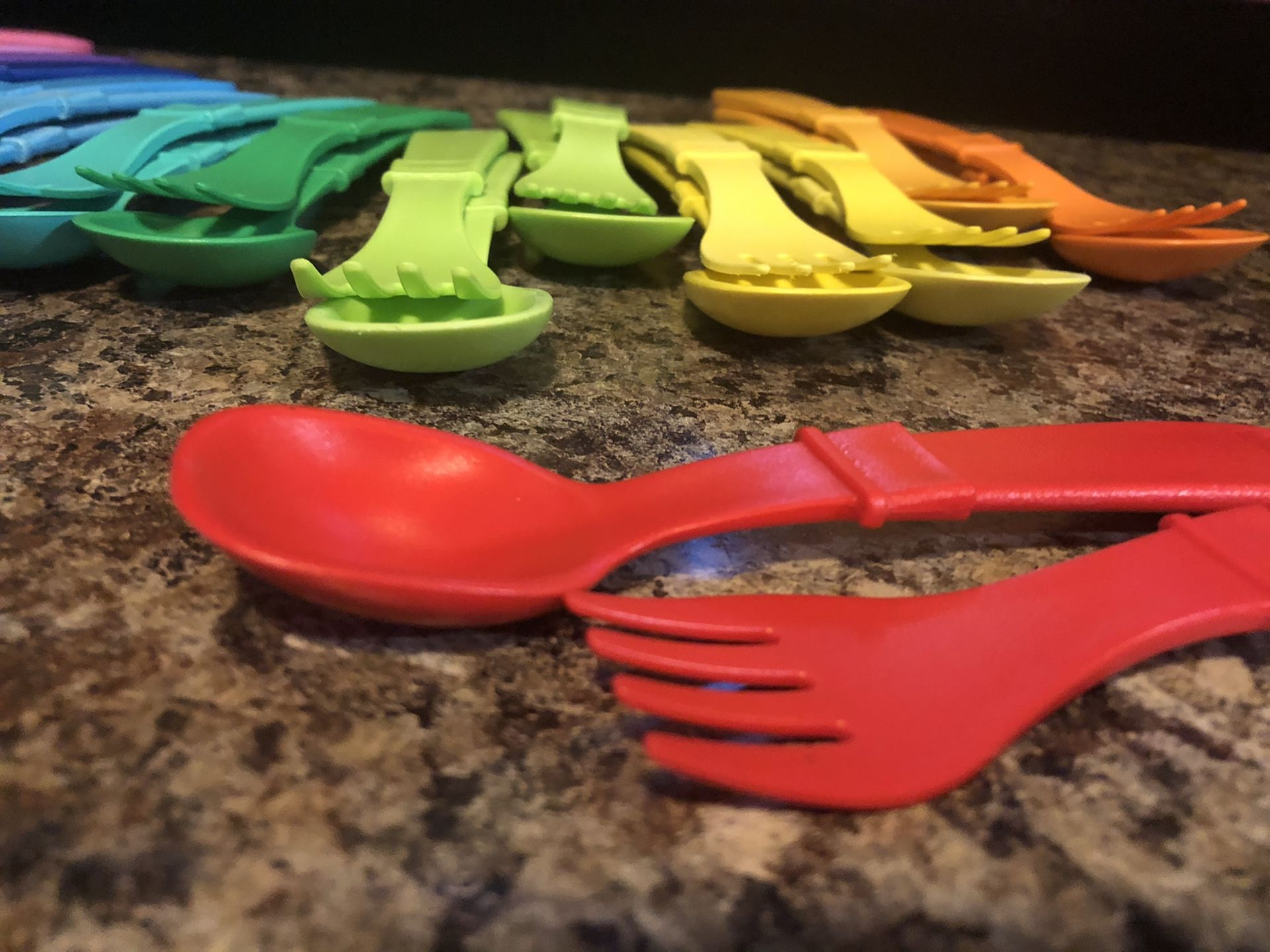 Seventeen sets of Replay brand children's fork-and-spoon ware