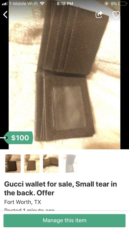 Gucci wallet for sale, small tear in the back. Offer