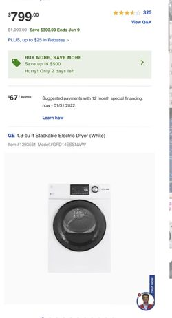 GE 2.4-cu ft High Efficiency Stackable Steam Cycle Front-Load Washer and dryer Thumbnail