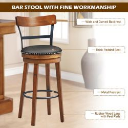 Costway Set of 2 BarStool 30.5'' Swivel Pub Height Dining Chair with Rubber Wood Legs Thumbnail