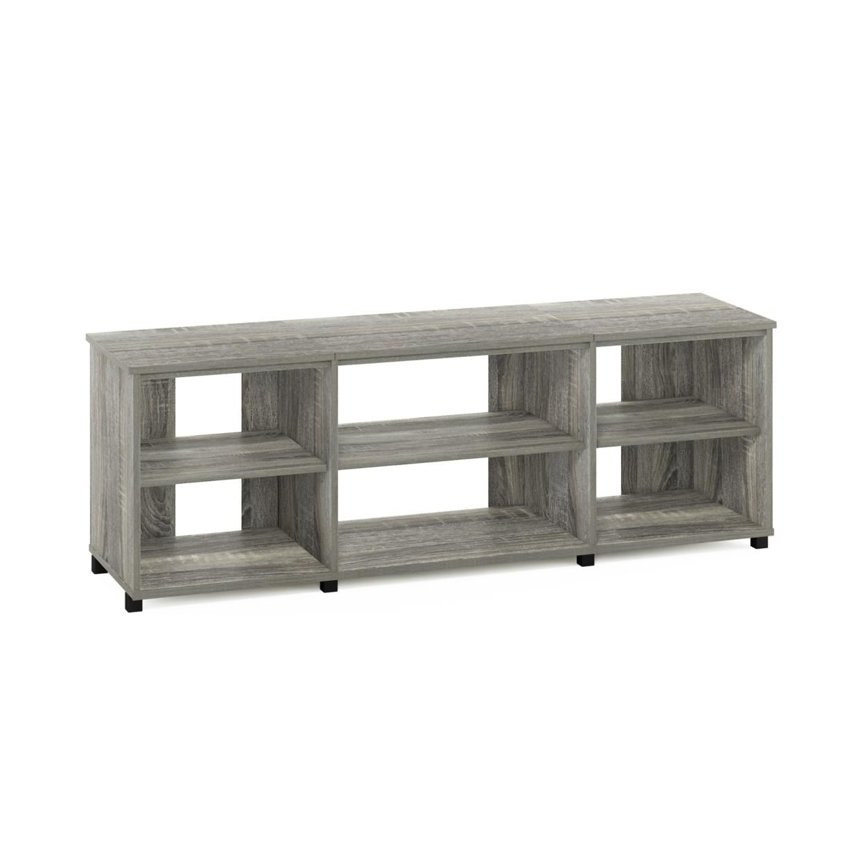 Furinno Montale TV Stand with Shelves for TV up to 65 Inch, French Oak Grey
