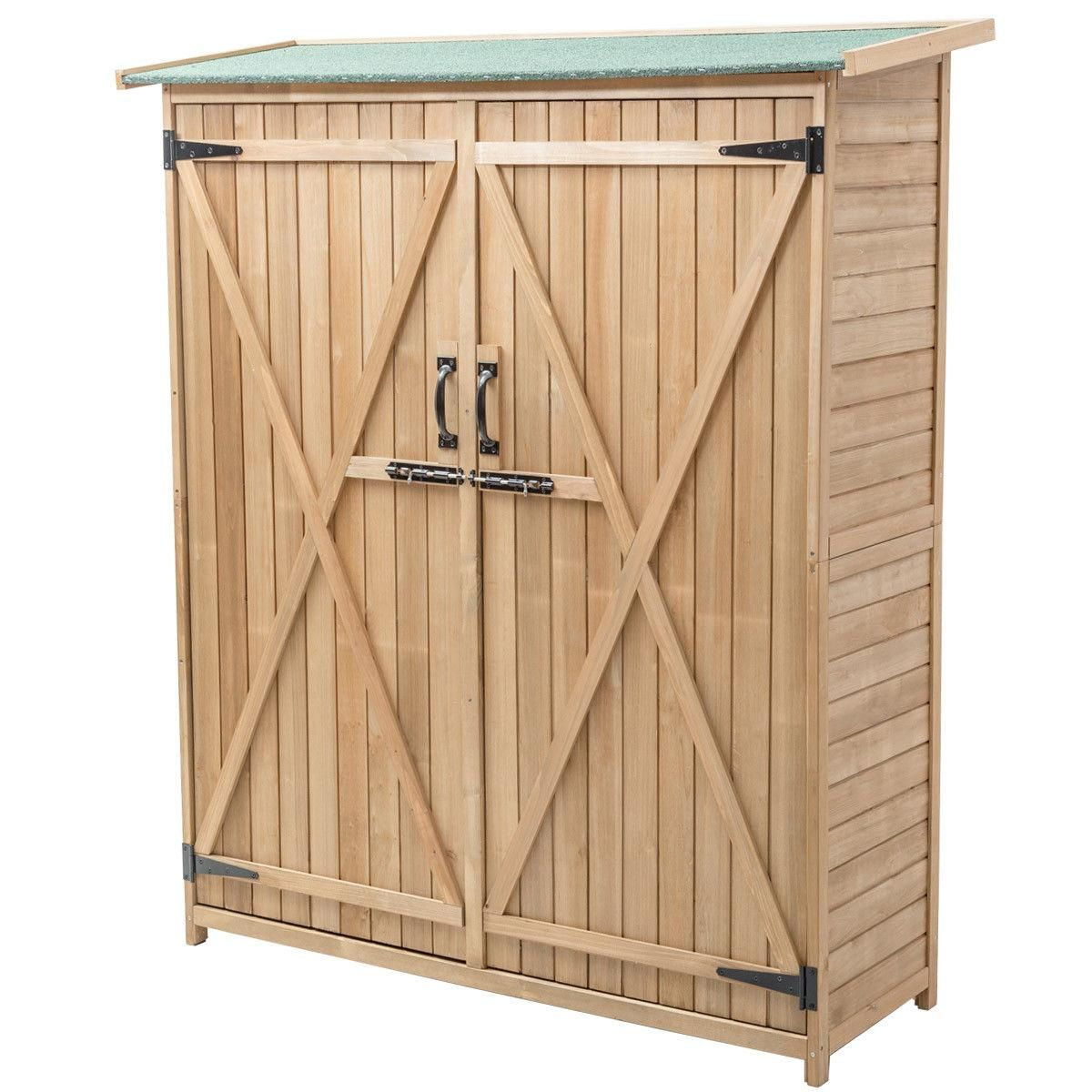 Gymax Garden Outdoor Wooden Storage Shed Cabinet Double Doors Fir Wood Lockers