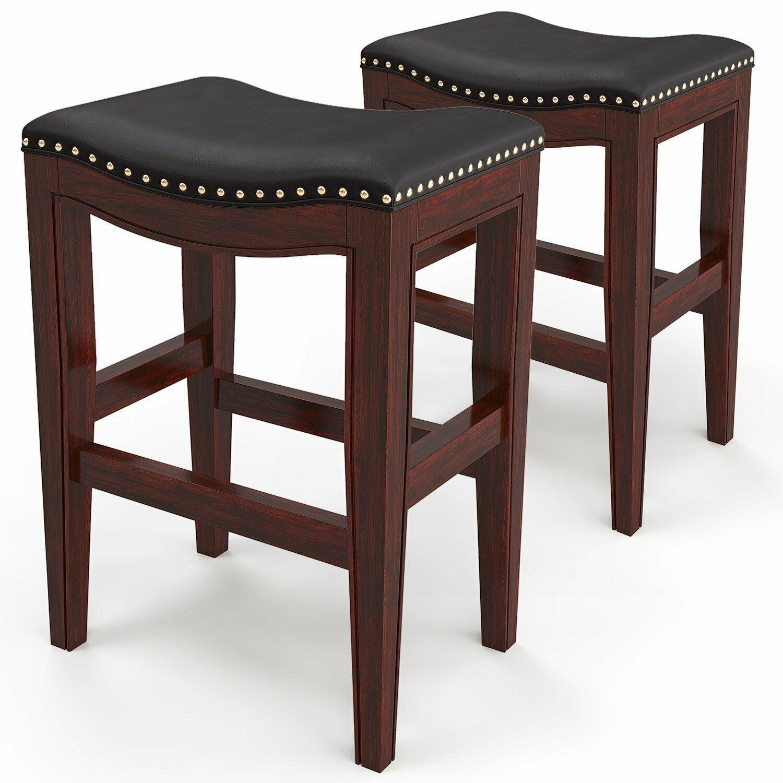 Set of 2 Bar Stool Wood Upholstered Cushion Seat Black Dining Pub Bar 29''Height