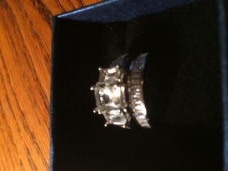 Silver engagement ring with band size 9 Thumbnail