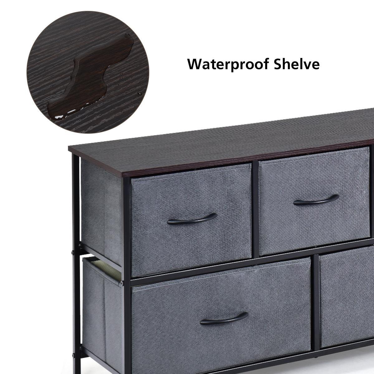 Costway 5 Drawer Dresser Storage Unit Side Table Display Organizer Dorm Room Fabric Grey