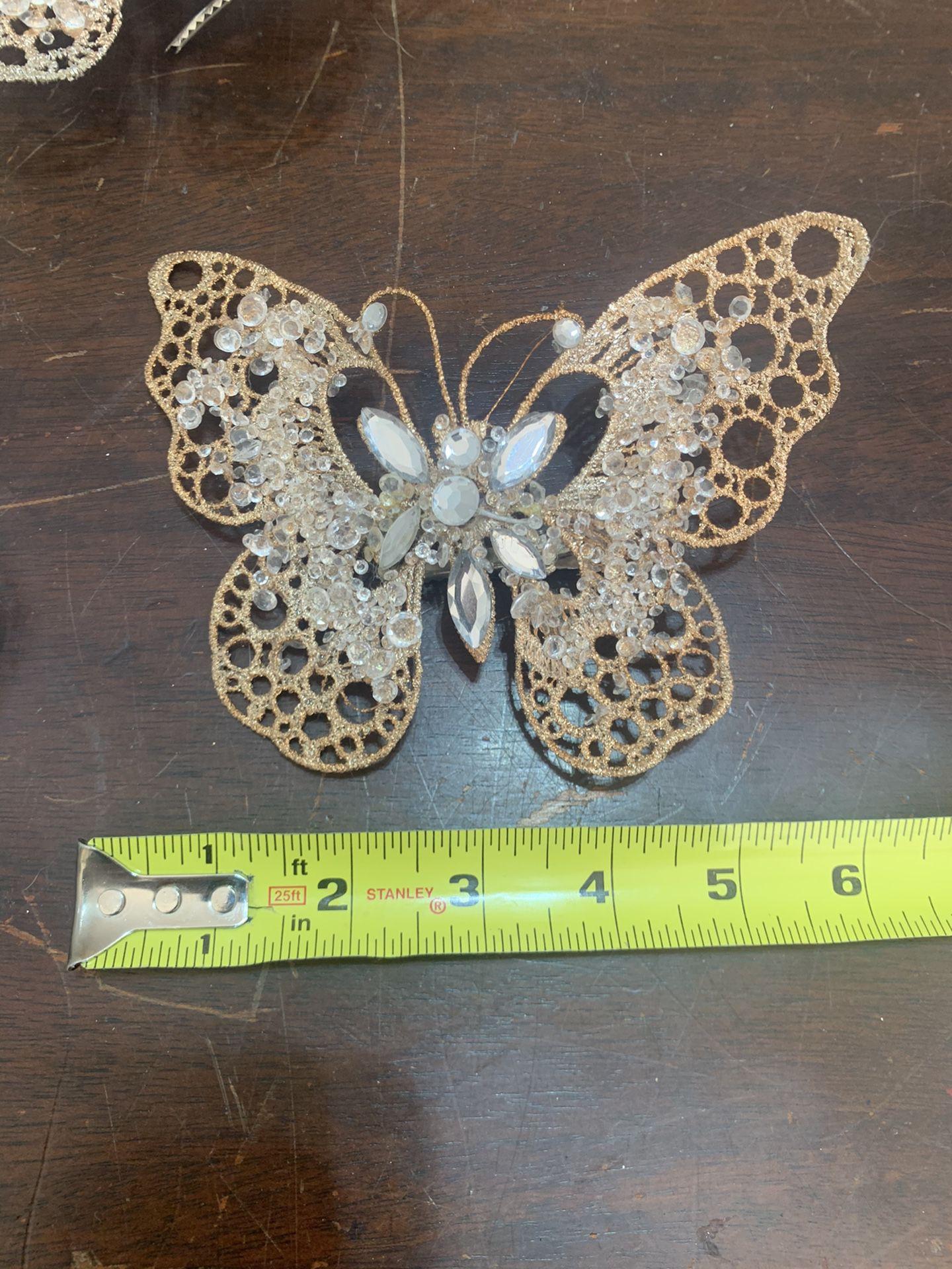 Glitter clip butterflies x 4 decor art craft