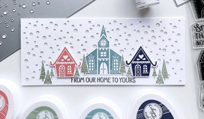 LARGE Snow Card Front Plate Die & Embossing