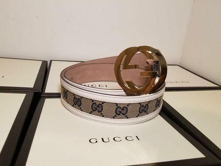 Gucci Supreme White/ Blue Authentic Belt