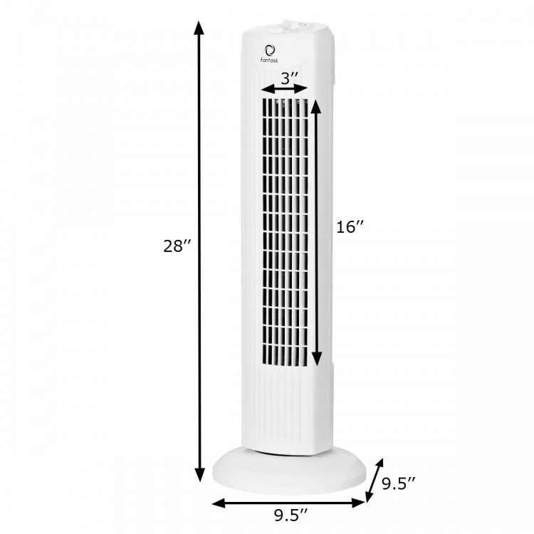 "600U24 // 35W 28"" Quiet Bladeless Oscillating Tower Fan"