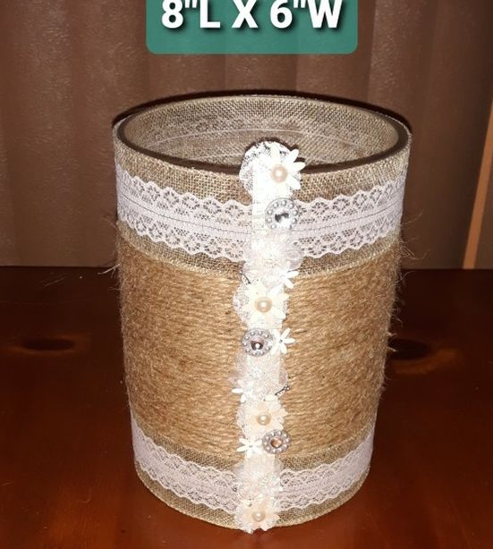 Vase-Glass With Rope And Lace Design