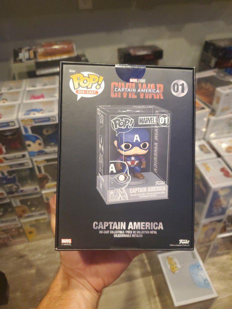 Funko Pop! Marvel Civil War Captain America Die Cast (2021 Summer Convention Exclusive) 01