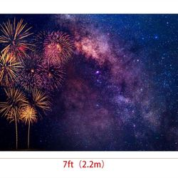 7x5ft Firework Backdrops for Photography Backgrounds Starry Sky Backdrop Photo Booth Props Thumbnail
