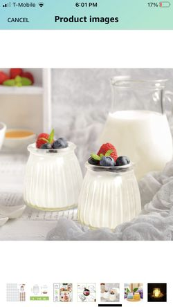 Mini Yogurt Jars 40 Pack, 4 oz Glass Pudding Favor Jars with Cork Lids and PE Lids, Glass Pudding jars, Glass Containers , Mason Jar Wedding Favors Ho Thumbnail